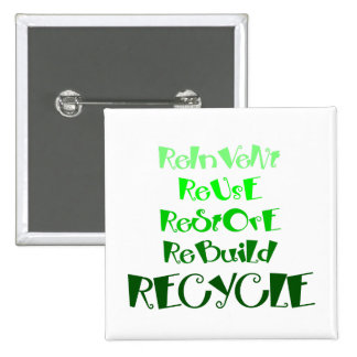 Recycling 101 pinback button