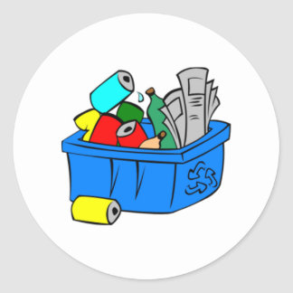 Recycling Bin Round Sticker