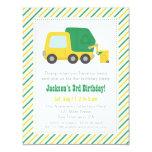 Recycling Garbage Truck Theme Boys Birthday Party 11 Cm X 14 Cm Invitation Card