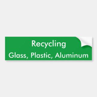 Recycling Glass Plastic Aluminum Bumper Stickers
