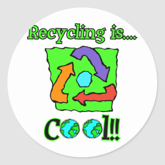 Recycling is Cool Round Stickers