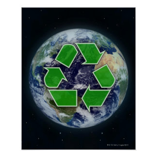 Recycling symbol and planet earth poster