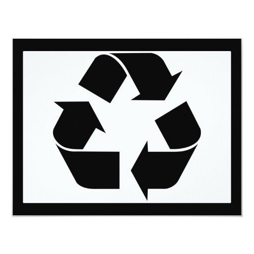 Recycling Symbol - Black 11 Cm X 14 Cm Invitation Card