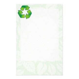 Recycling symbol custom stationery