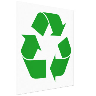 Recycling Symbol - Green Stretched Canvas Print