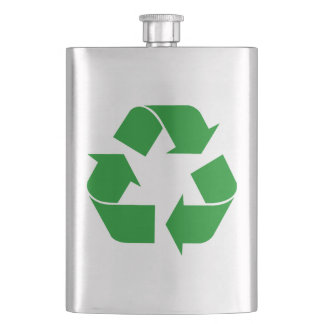 Recycling Symbol - Green Hip Flask