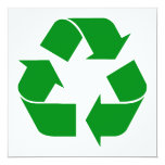 Recycling Symbol - Green 5.25x5.25 Square Paper Invitation Card