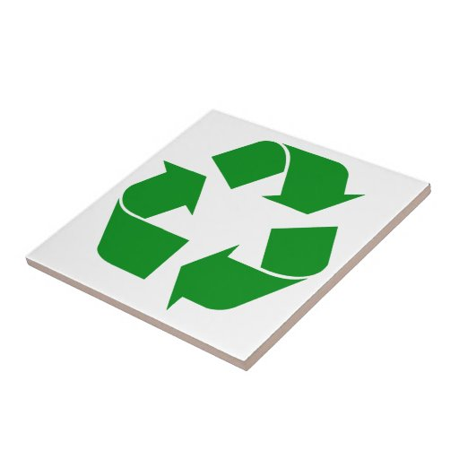 Recycling Symbol - Green Small Square Tile