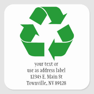 Recycling Symbol - Green Square Sticker