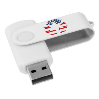 Recycling Symbol - Red White & Blue USB Flash Drive