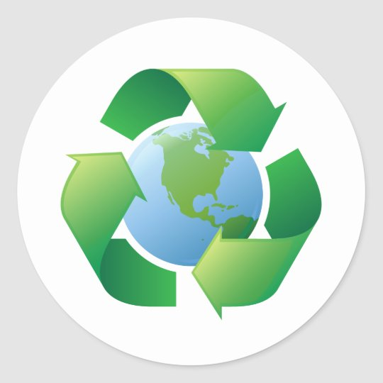 Recycling symbol surrounding planet earth classic round sticker