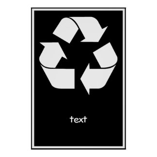 Recycling Symbol - White (For Black Backgrounds) Poster