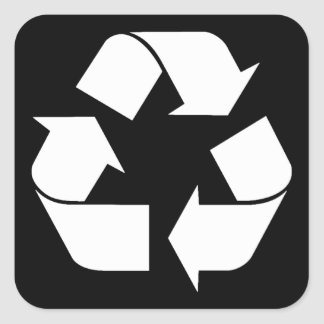 Recycling Symbol - White (For Black Backgrounds) Square Sticker
