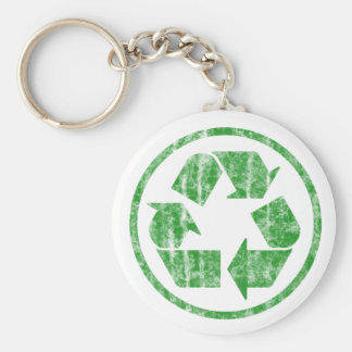 Recycling to Save the Planet Earth, Symbol Basic Round Button Key Ring