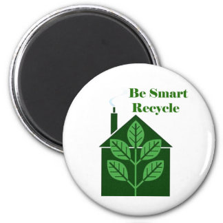 Recyle Be Smart Environmental Issues 6 Cm Round Magnet