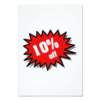 Red 10 Percent Off 3.5x5 Paper Invitation Card