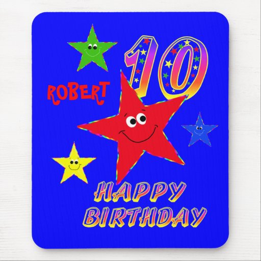 Red 10th Birthday Star Mouse Pad