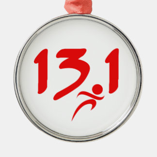 Red 13.1 half-marathon christmas ornament