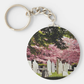 Red 18th century colonial graveyard flowers basic round button key ring