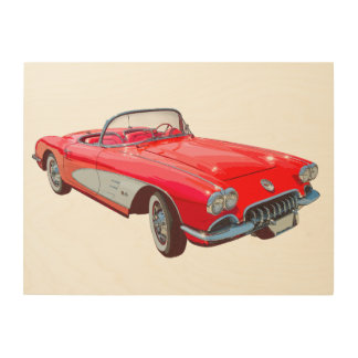 Red 1958 Corvette Convertible Classic Car Wood Wall Art