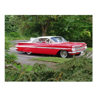red 1960 impala postcard