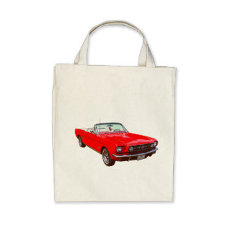 Red 1965 Ford Mustang Convertible Canvas Bag