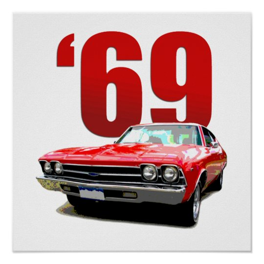 Red 1969 Chevelle coupe front view. Poster