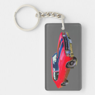 Red 1971 Chevrolet Chevelle SS Muscle Car Rectangle Acrylic Key Chain