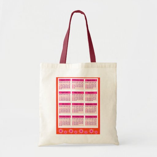 Red 2011 Year at a Glance Calendar Tote Bag