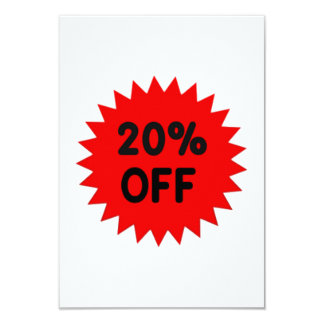 Red 20 Percent Off 9 Cm X 13 Cm Invitation Card
