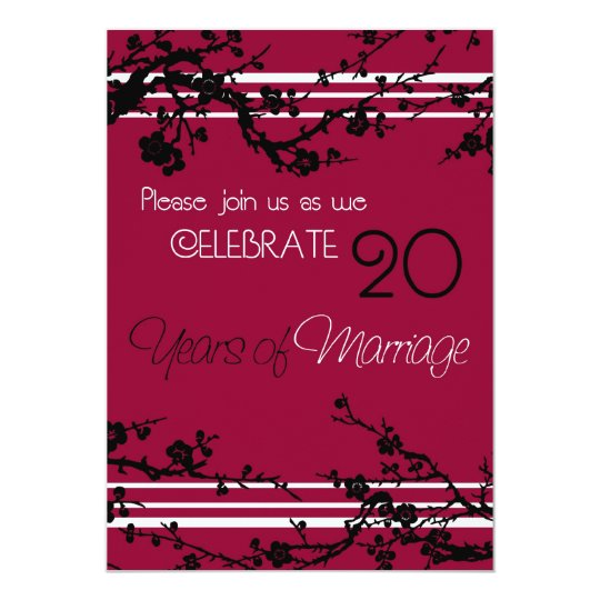 Red 20th Wedding Anniversary Invitation Card