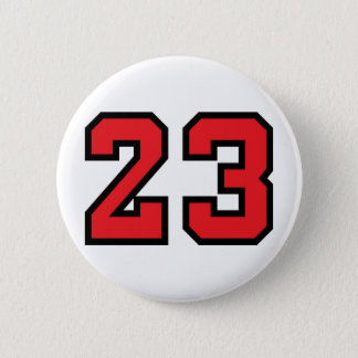 Red 23 6 cm round badge