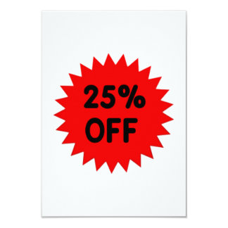 Red 25 Percent Off 9 Cm X 13 Cm Invitation Card