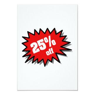 Red 25 Percent Off 9 Cm X 13 Cm Invitation Card