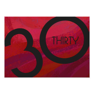 Red 30 Decade Birthdday Poster