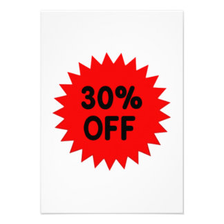 Red 30 Percent Off Personalized Invitations