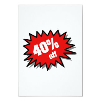 Red 40 Percent Off 9 Cm X 13 Cm Invitation Card