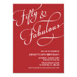 Red 50 and Fabulous Birthday Invitations