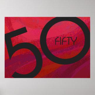 Red 50 Decade Birthdday Poster