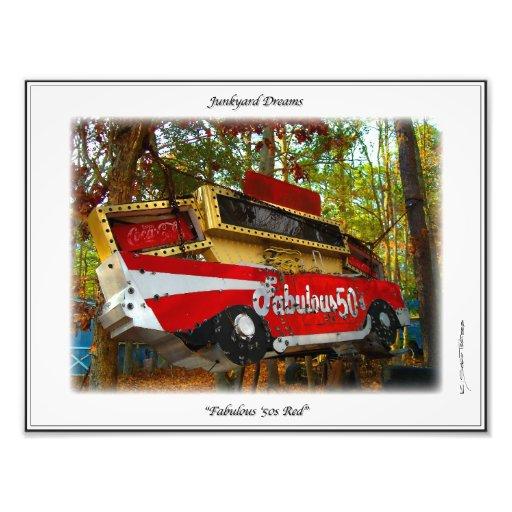 Red 57 Chevy  Nostalgia Junkyard Dreams Print Photograph