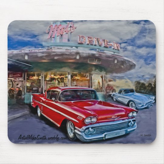 red 58 chevy at drive-in mouse mat