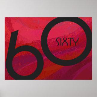 Red 60 Decade Birthdday Poster