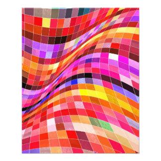 red-69291 ILLUSIONS WAVY SQUARES Red purple diamon 11.5 Cm X 14 Cm Flyer