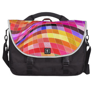 red-69291 ILLUSIONS WAVY SQUARES Red purple diamon Laptop Commuter Bag