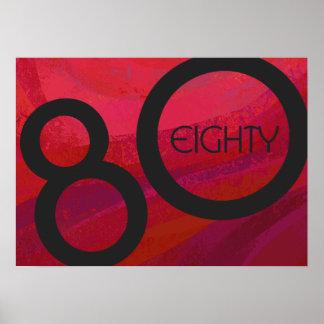 Red 80 Decade Birthdday Poster