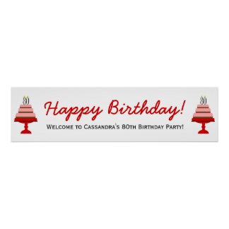 Red 80th Birthday Cake Party Banner Poster
