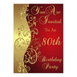 Red 80th Birthday Party Personalised Invitation