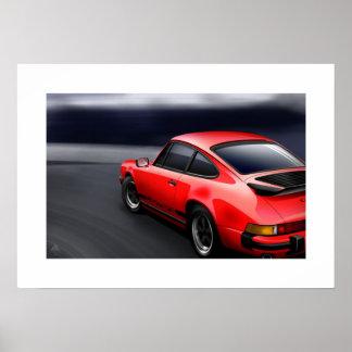 Red 911 Carrera sports car Poster Illustration
