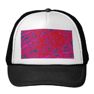 Red abstract art cap