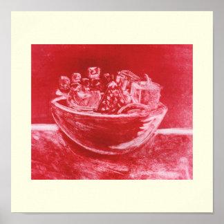 Red Abstract Art Still Life Fruit Bowl Mono Print